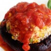 13 Tofu Stuffed Portabella with Tomato Sauce