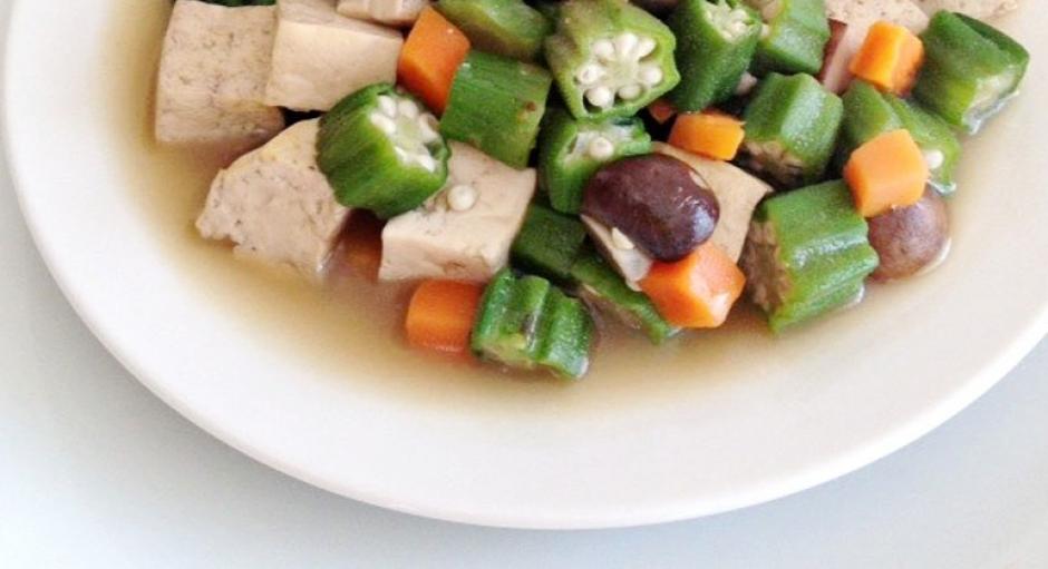 33 Braised Okra, Mushroom, and Tofu * * *