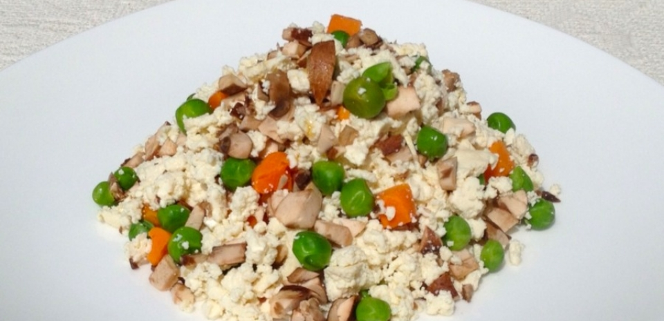 79 Cold Tofu Dish with Peas and Mushrooms * * *