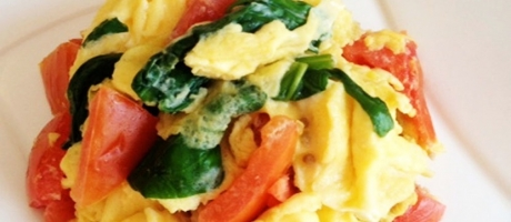 64 Scrambled Egg with Tomato and Spinach * *