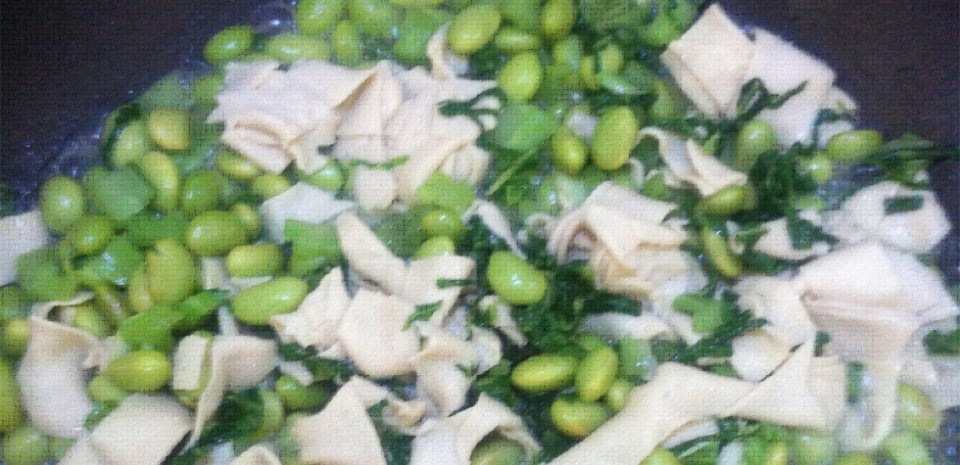 310 Stir Fried Pickled Mustard Green with Bai-Yei and Edamame