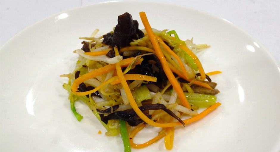 316 Stir Fried Bean Sprouts with Carrots, Celery, and Black Fungus