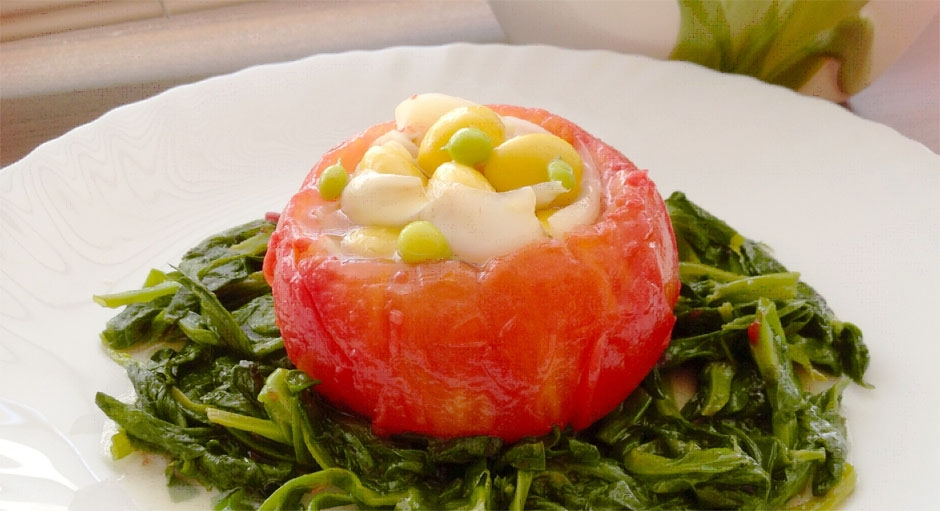 321 Stuffed Tomato with Ginkgo Nuts, Lily Bulbs, and Peas on a Bed of Spinach