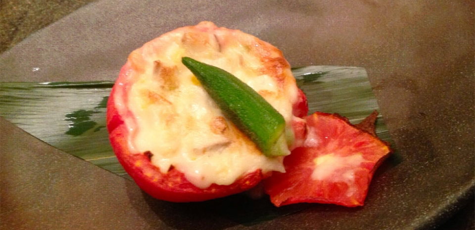 329 Baked Tomato with Mushroom and Cheese Stuffing