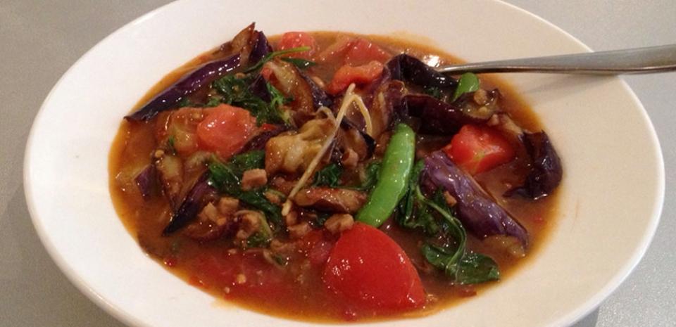 334 Thai Style Sautéed Eggplant, Tomato, and Basil