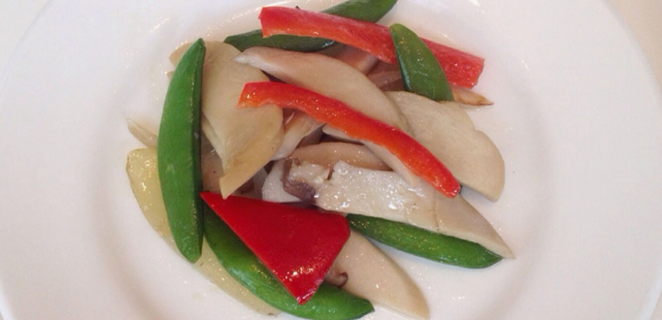 336 Stir Fried Sugar Snap Peas, Red Peppers, and King Oyster Mushrooms