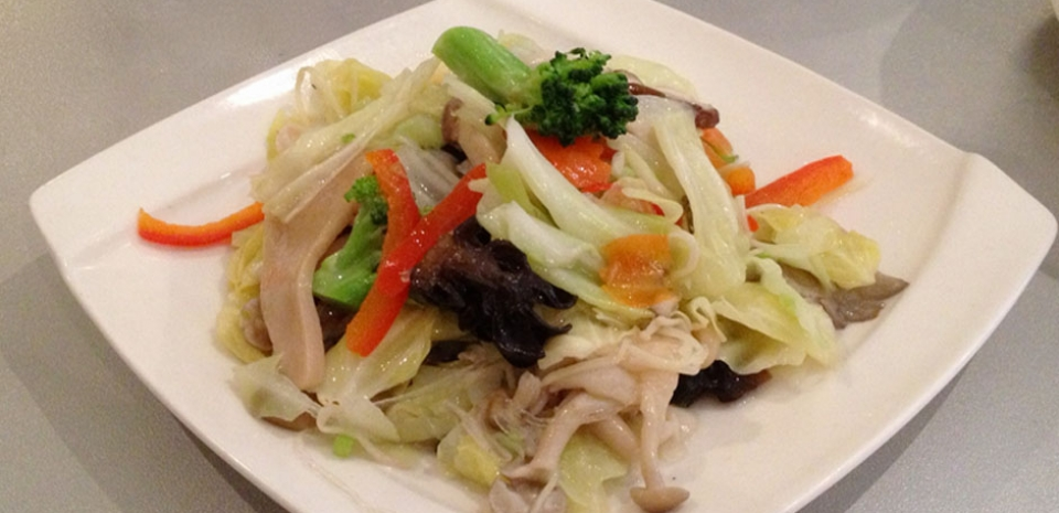339 Stir Fried Cabbage, Broccoli, Bell Pepper, Oyster Mushrooms, and Black Fungus